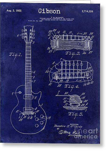 Les Paul Greeting Cards - Gibson Guitar Patent Drawing Blue Greeting Card by Jon Neidert
