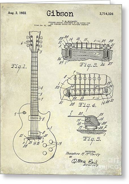 Les Paul Greeting Cards - Gibson Guitar Patent Drawing Greeting Card by Jon Neidert