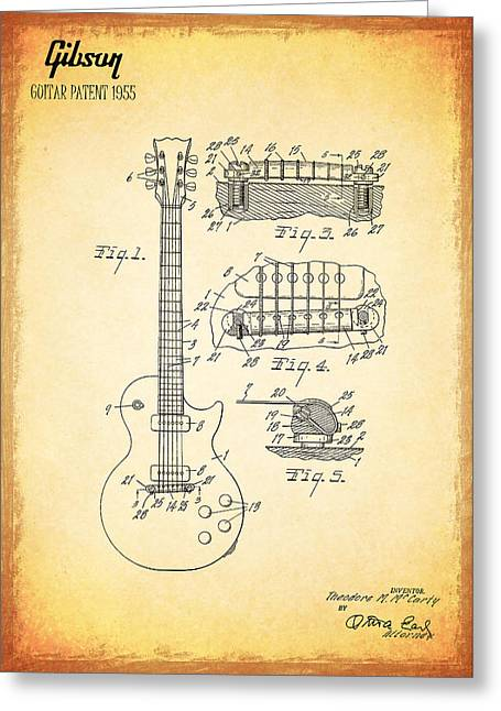 Rock N Roll Greeting Cards - Gibson Guitar Patent from 1955 Greeting Card by Mark Rogan