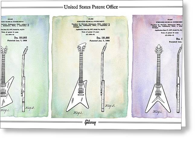Rock N Roll Greeting Cards - Gibson Guitar Patents 1958 Greeting Card by Mark Rogan