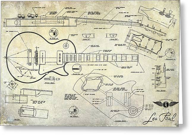 Les Paul Greeting Cards - Gibson Les Paul Blueprint Antique Greeting Card by Jon Neidert