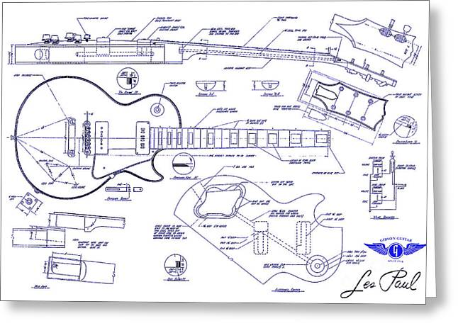 Les Paul Greeting Cards - Gibson Les Paul Blueprint Drawing Greeting Card by Jon Neidert