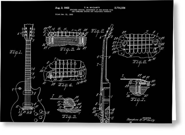 Historical Blueprint Greeting Cards - Gibson Les Paul Guitar 2 Patent Art 1955 Greeting Card by Daniel Hagerman