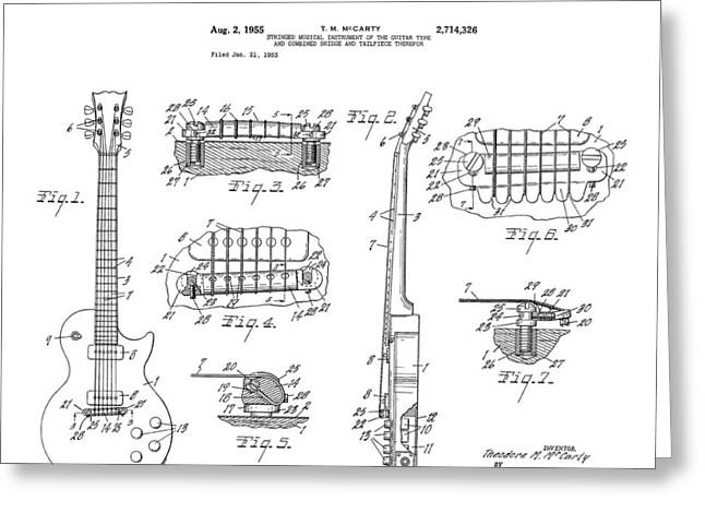 Historical Blueprint Greeting Cards - Gibson Les Paul Guitar 4 Patent Art 1955 Greeting Card by Daniel Hagerman