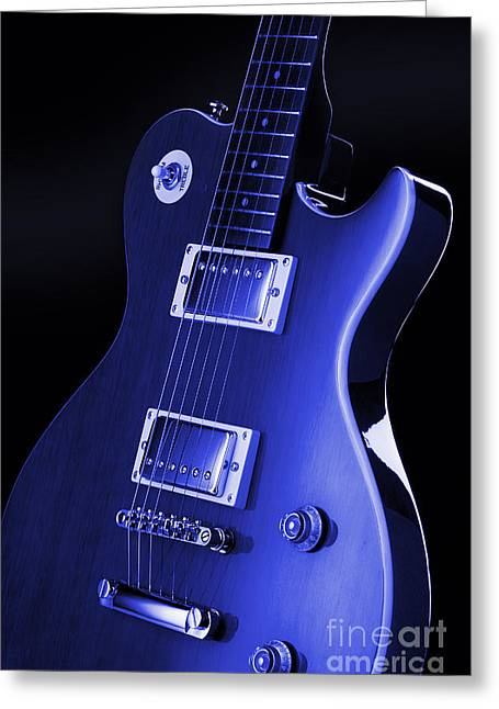 Les Greeting Cards - Gibson Les Paul Guitar Greeting Card by Simon Kayne