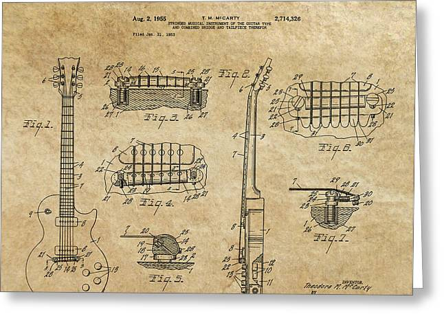 Historical Blueprint Greeting Cards - Gibson Les Paul Guitar Patent Art 1955 Greeting Card by Daniel Hagerman