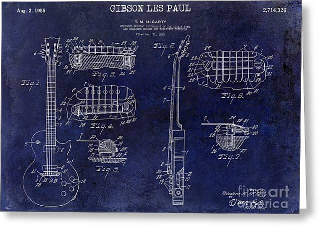 Gibson Greeting Cards - Gibson Les Paul Patent Drawing Blue Greeting Card by Jon Neidert