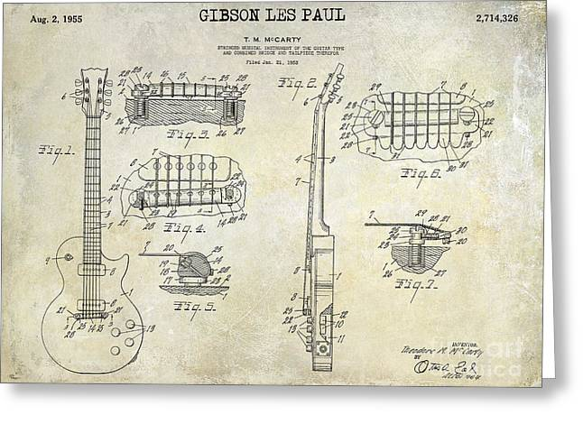 Gibson Greeting Cards - Gibson Les Paul Patent Drawing Greeting Card by Jon Neidert