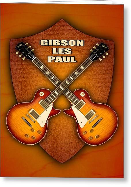 Les Mixed Media Greeting Cards - Gibson les paul standart  shield Greeting Card by Doron Mafdoos