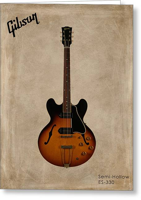 Rock N Roll Greeting Cards - Gibson Semi Hollow ES330 Greeting Card by Mark Rogan