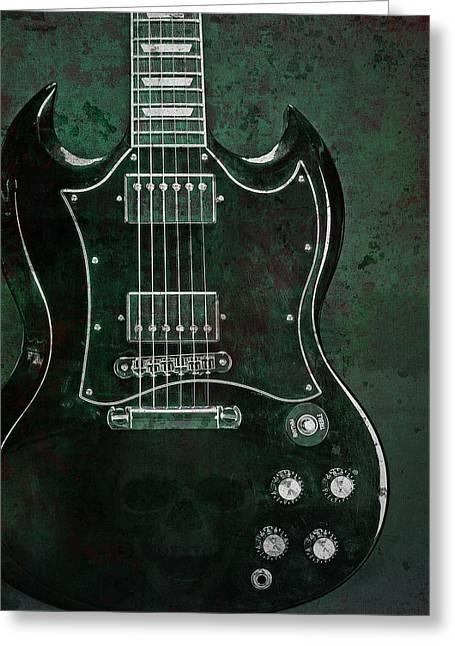 Gibson Sg Standard Green Grunge With Skull Greeting Card by John Cardamone