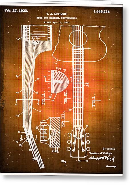 Gibson Thaddeus J Mchugh Guitar Patent Blueprint Drawing Sepia Greeting Card by Tony Rubino