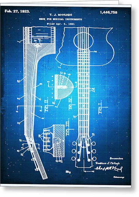Gibson Thaddeus J Mchugh Guitar Patent Blueprint Drawing Greeting Card by Tony Rubino