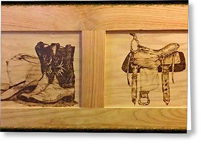 Boots Pyrography Greeting Cards - Giddy Up Greeting Card by Buddy Harris