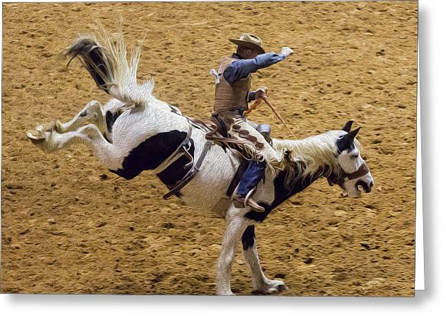 Bucking Horses Greeting Cards - Giddyap Greeting Card by Stephen Stookey