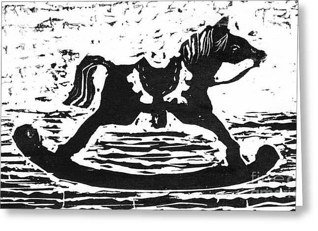 Positive Negative Design Greeting Cards - Giddyup Rocking Horse  block print Greeting Card by Ellen Miffitt