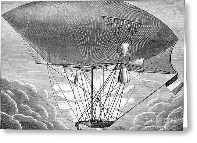 European Artwork Greeting Cards - Giffards Airship, 19th Century Greeting Card by Bildagentur-online