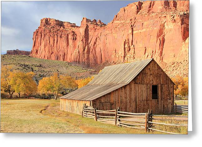Field. Cloud Greeting Cards - Gifford Barn Greeting Card by Johnny Adolphson