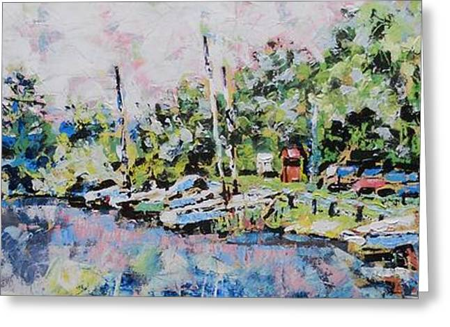 Docked Sailboat Greeting Cards - Gifford Pinchot State Park Greeting Card by Larry Lerew