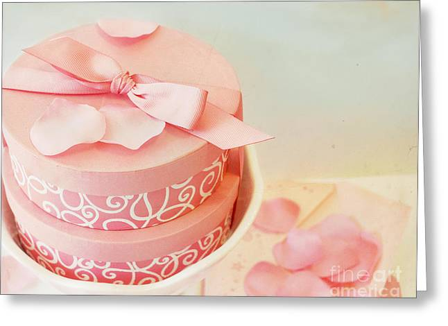 Hat Box Greeting Cards - Gift boxes and rose petals Greeting Card by Cindy Garber Iverson