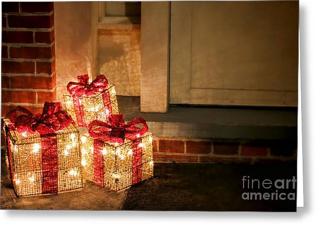 Surprise Greeting Cards - Gift of Lights Greeting Card by Olivier Le Queinec