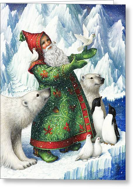 Santa Claus Greeting Cards - Gift of Peace Greeting Card by Lynn Bywaters
