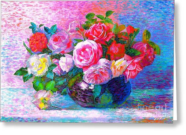 Bowl Of Flowers Greeting Cards - Gift of Roses Greeting Card by Jane Small