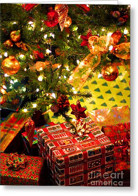 Waiting Photographs Greeting Cards - Gifts under Christmas tree Greeting Card by Elena Elisseeva