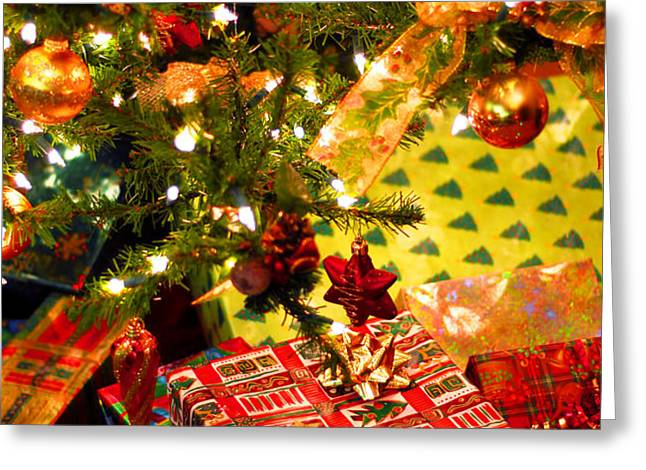 Gifts under Christmas tree Greeting Card by Elena Elisseeva