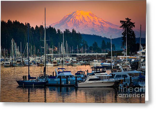 Docked Sailboats Greeting Cards - Gig Harbor Dusk Greeting Card by Inge Johnsson