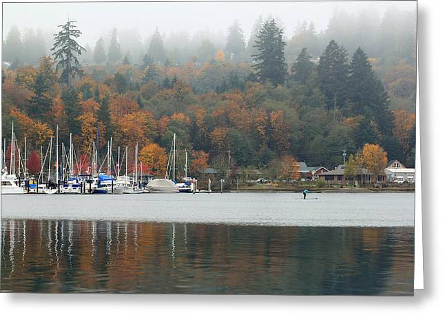 Recently Sold -  - Boats In Harbor Greeting Cards - Gig Harbor in the Fog Greeting Card by E Faithe Lester