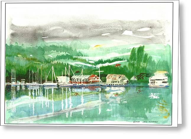 Gig Harbor Waterfront Greeting Card by Jack Pumphrey
