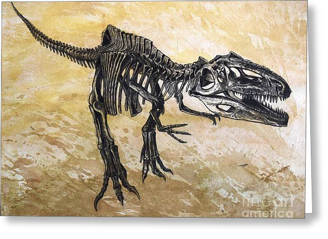 Geology Digital Art Greeting Cards - Giganotosaurus Dinosaur Skeleton Greeting Card by Harm Plat