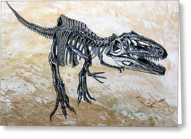 Dinosaur Greeting Cards - Giganotosaurus skeleton Greeting Card by Harm  Plat