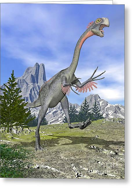 Bird On Tree Greeting Cards - Gigantoraptor Dinosaur Running Greeting Card by Elena Duvernay