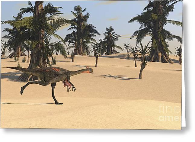 Bird On Tree Greeting Cards - Gigantoraptor Running Greeting Card by Kostyantyn Ivanyshen