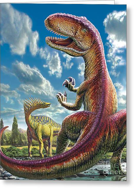 Prehistoric Digital Greeting Cards - Gigantosaurus Greeting Card by Adrian Chesterman