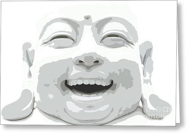 Enlightened Path Greeting Cards - Giggling Buddha Greeting Card by Keri West