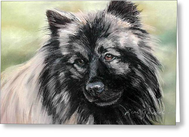 Working Dog Pastels Greeting Cards - Gigs the Keeshond Greeting Card by Lenore Gaudet