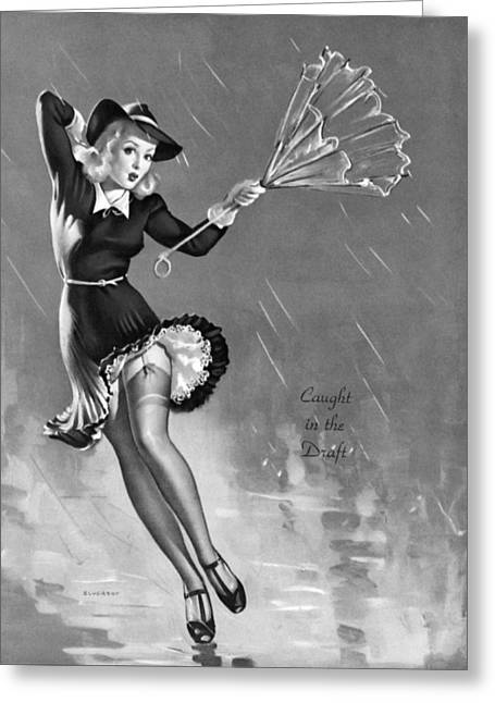 Dancing Girl Greeting Cards - Gil Elvgrens Pin-Up Girl Greeting Card by Gil Elvgren