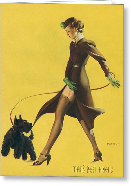 Gil Elvgren's Pin-up Girl Greeting Card by Underwood Archives