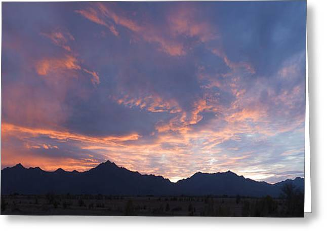 Paint Photograph Greeting Cards - Gila River Indian Sunset Pano Greeting Card by Anthony Citro
