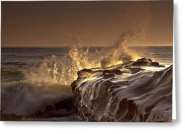 Best Sellers Greeting Cards - Gilded Eruption Greeting Card by Ryan Weddle