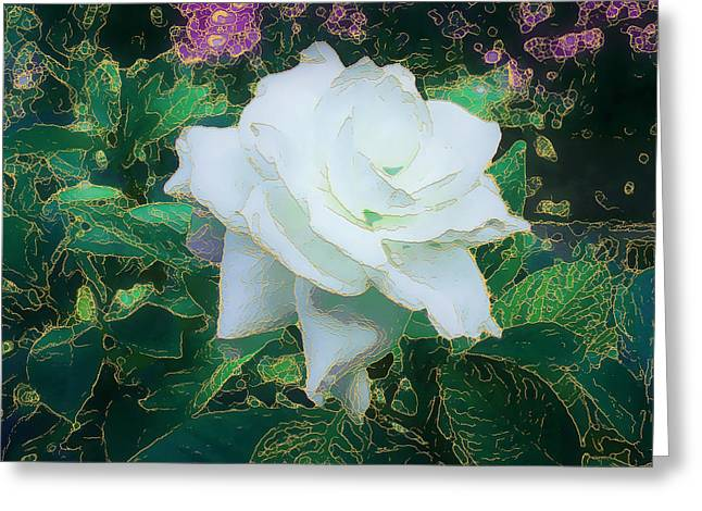 Gold Trim Greeting Cards - Gilded Gardenia Greeting Card by Ginny Schmidt