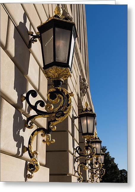 Streetlight Greeting Cards - Gilded Lanterns - Washington D C Facades - Federal Triangle Neighborhood Greeting Card by Georgia Mizuleva