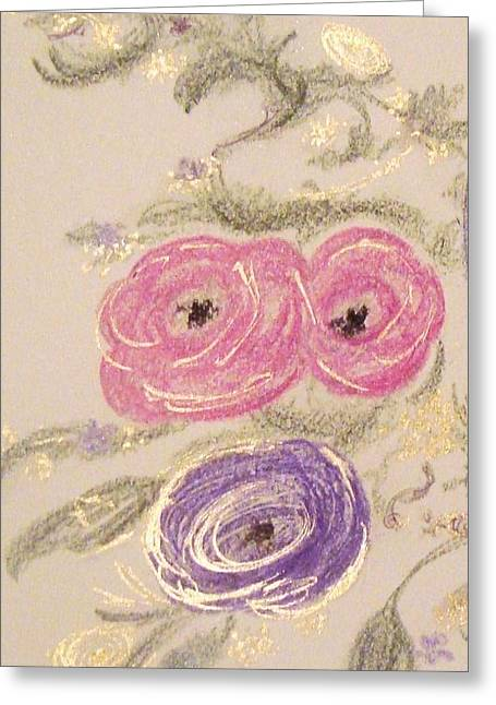 Vines Pastels Greeting Cards - Gilded Ranunculus II Greeting Card by Christine Corretti