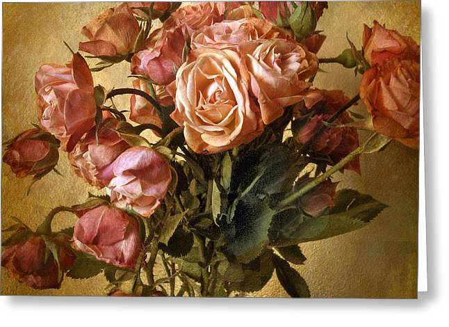 Floral Bouquets Greeting Cards - Gilded Rose Greeting Card by Jessica Jenney