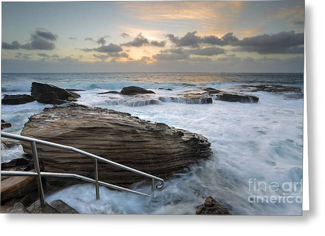 Turbulent Skies Greeting Cards - Giles Baths Coogee Rock Pool Sunrise Seascape Greeting Card by Leah-Anne Thompson