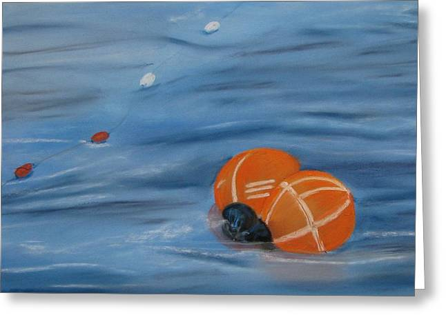 Gill Netter Greeting Cards - Gill Net Floats Greeting Card by Pamela Heward