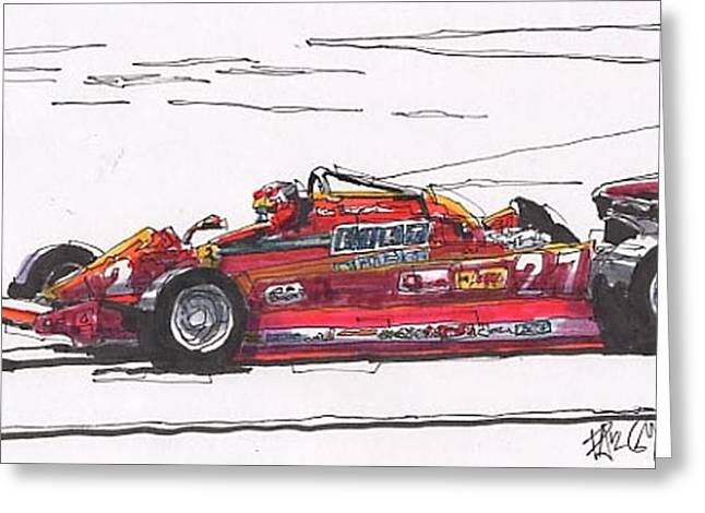 Canadian Grand Prix Greeting Cards - Gilles Villeneuve Ferrari Canadian Grand Prix Greeting Card by Paul Guyer